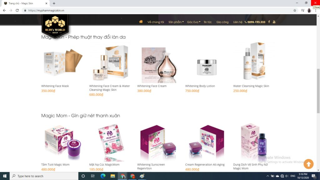 Website bán hàng của Magic skin